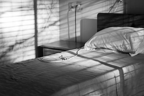 Nursing home bed in black and white