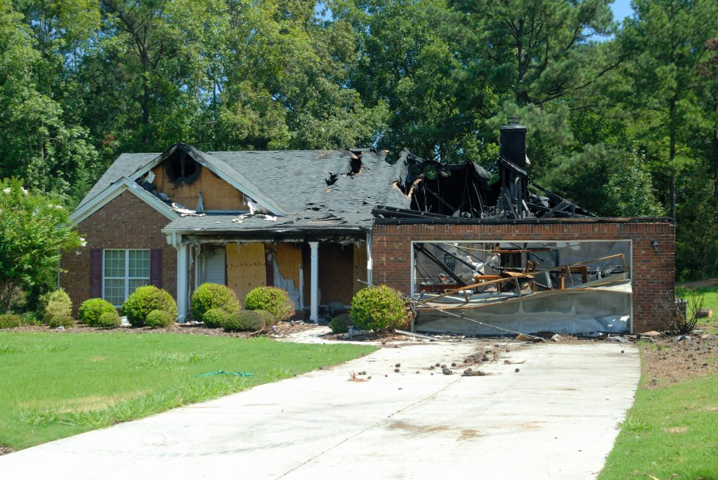 A single family home destroyed by fire.