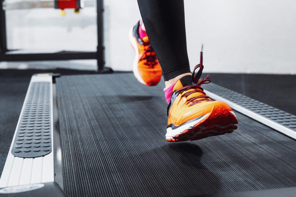 Close up jogging on a treadmill